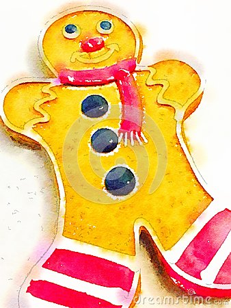 Watercolor illustration of a ginger bread man cookie Cartoon Illustration