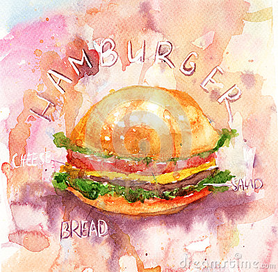 Watercolor illustration of Hamburger