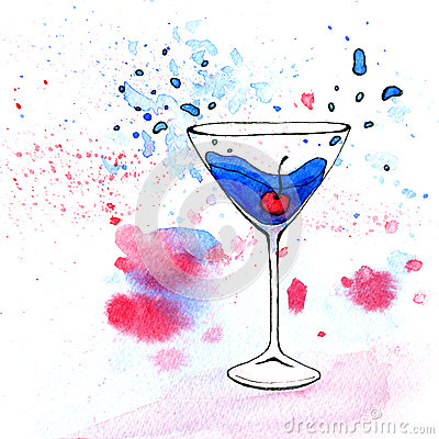 Free Watercolor Illustration Of Blue Cocktail In Martini Glass Royalty Free Stock Image - 73875576