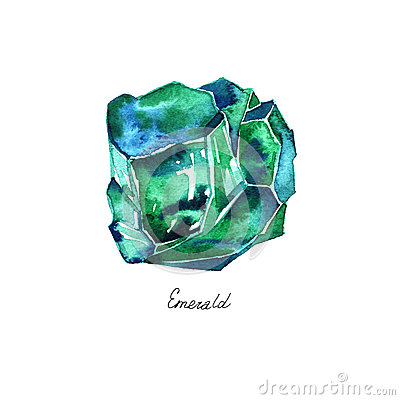 Free Watercolor Illustration Of Diamond Crystal. Green Emerald. Stock Images - 91296764