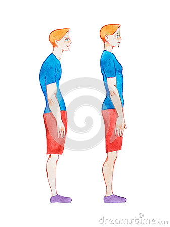 Free Watercolor Illustration Of People With Right And Wrong Posture. Man With Normal Healthy Spine And Abnormal Sick Spine In Royalty Free Stock Image - 94626066