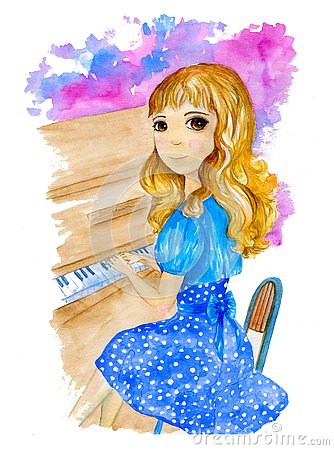 Watercolor illustration about pretty blonde girl in blue dress playing the piano on the colorful background. Cartoon Illustration