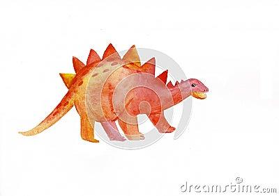 Watercolor сute dinosaur. Pteradactyl dinosaur illustration isolated on white background. Cartoon childish prehistoric Cartoon Illustration