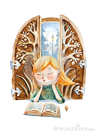 Free Watercolor Illustration. The Boy With Book Dreaming About A Big Royalty Free Stock Images - 95376309