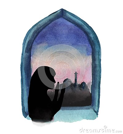 Watercolor illustration of a window in which a mosque and sunrise are visible, a Muslim woman prays, Ramadan Cartoon Illustration