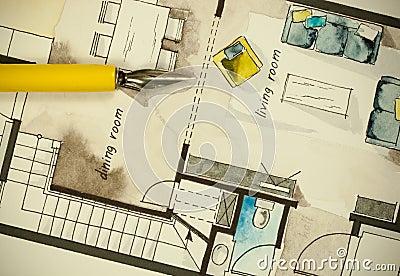 Architectural flat floor plan stock illustration image for Floor plan holder