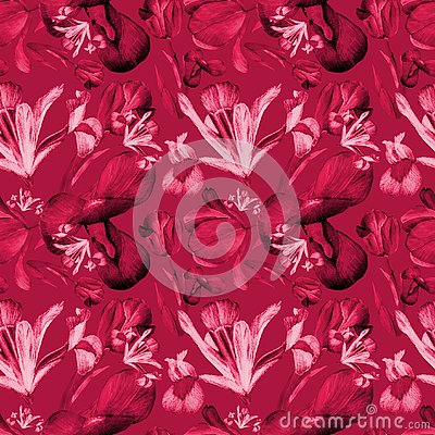Free Watercolor Iris And Tulips Seamless Pattern Red Stock Photo - 144910450