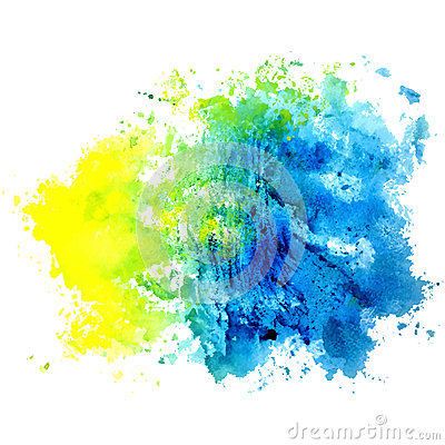 Free Watercolor Isolated Spot On A White Background. Blue, Yellow And Royalty Free Stock Photos - 85226058