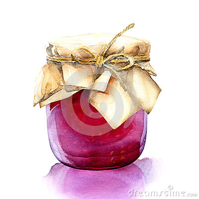 Free Watercolor Jar With A Red Berries Jam Stock Photos - 43284113