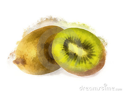 Watercolor kiwi