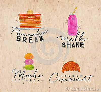 Free Watercolor Label Croissant Kraft Stock Photography - 76136952