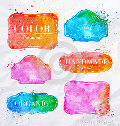 Free Watercolor Labels Vintage Royalty Free Stock Photo - 40237795