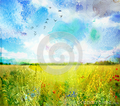 Free Watercolor Landscape Royalty Free Stock Image - 29046066