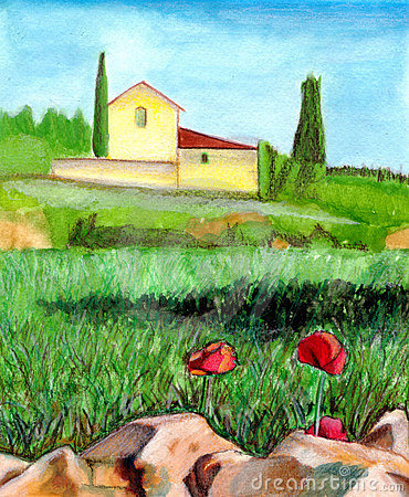 Free Watercolor Landscape Royalty Free Stock Photography - 375397