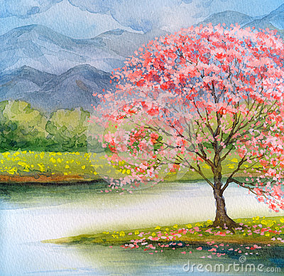 Free Watercolor Landscape. Flowering Pink Tree By Lake Royalty Free Stock Photos - 84439738