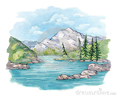 Watercolor illustration of  lake and mountains