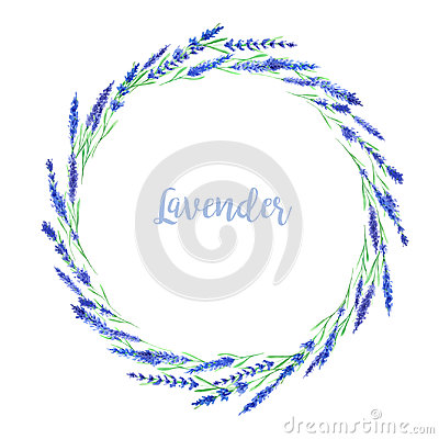 Watercolor lavender frame Stock Photo