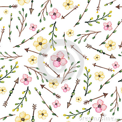 Watercolor Leaves, Arrows And Pink Flowers Seamless Pattern Stock Photo