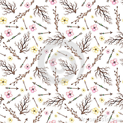 Watercolor Little Flowers, Arrows And Branches Seamless Pattern Stock Photo