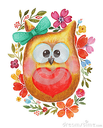 Free Watercolor Lovely Owl With Heart And Flowers Stock Photography - 65509152