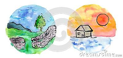 Watercolor miniature landscapes