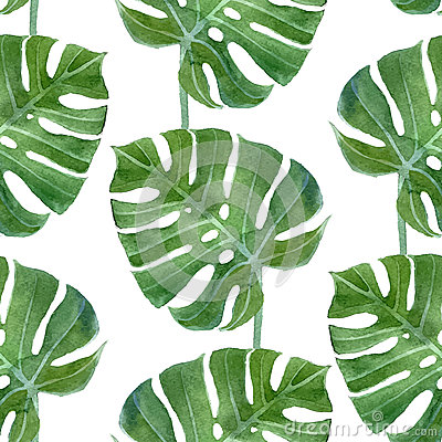 Free Watercolor Monstera Leaf Seamless Pattern Stock Photo - 53950970