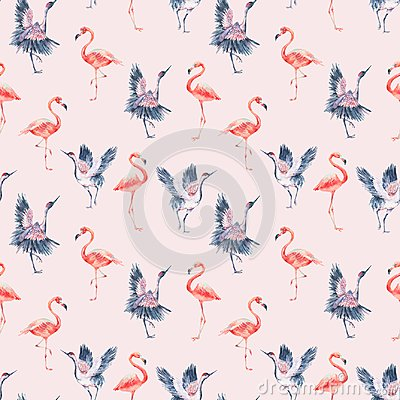 Free Watercolor Nature Seamless Pattern With Red Heads Crane Stock Image - 107289941