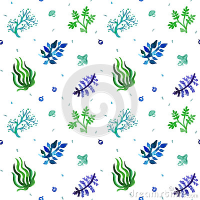 Free Watercolor Nature Seamless Vector Pattern (blue, Light Blue, Green Colors). Grass And Plants Pattern. Royalty Free Stock Image - 52640236