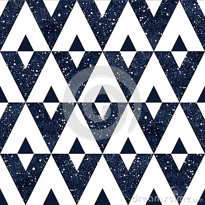 Free Watercolor Night Sky Triangles Seamless Vector Pattern. Royalty Free Stock Images - 56883169
