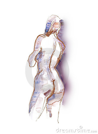 Watercolor -Nude 4-