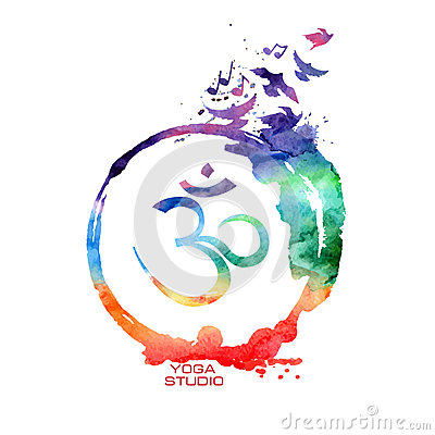 Free Watercolor Om Sign Label Royalty Free Stock Images - 49297649