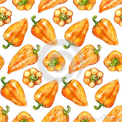 Free Watercolor Orange Yellow Sweet Bell Bulgarian Pepper Vegetable Seamless Pattern Texture Background Royalty Free Stock Photos - 109949808