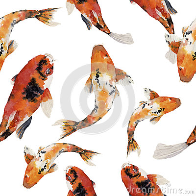 Free Watercolor Oriental Rainbow Carp Seamless Pattern. Koi Fishes Ornament  On White Background. Underwater Illustration For D Royalty Free Stock Photo - 75312825