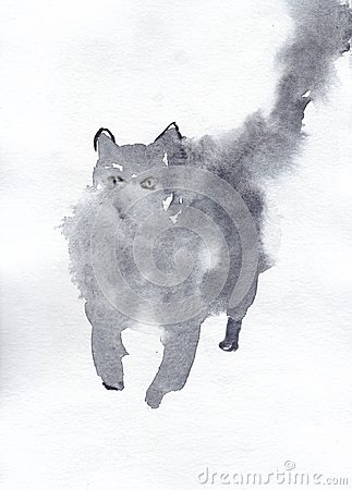 Free Watercolor Paint Fluffy Cat In Grey Color Royalty Free Stock Image - 123858296