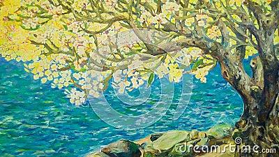 Watercolor paint of Nature landscape Stock Photo