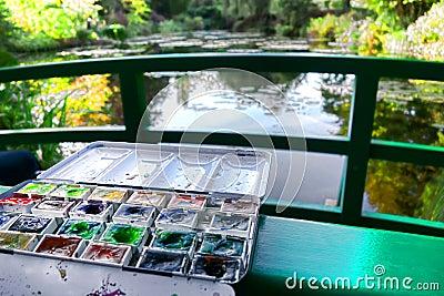 Watercolor Paint Set in Famous Painter Garden