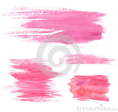 Free Watercolor Paint Stains. Pink Strokes And Blots. Set Of Artistic Textures Stock Photography - 73902902