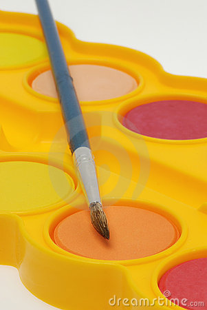 Watercolor paint tray and brush