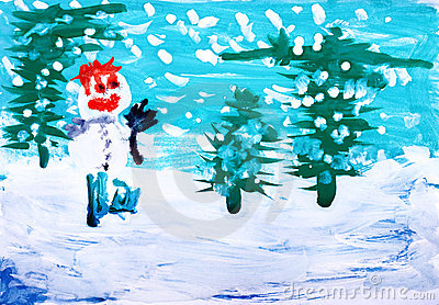 Watercolor paint. Winter forest with snowman