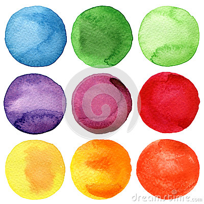Free Watercolor Painted Circles Collection Royalty Free Stock Photography - 39443547