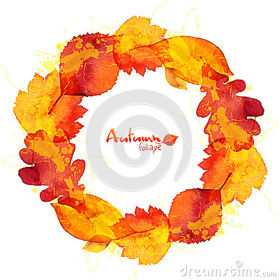 Free Watercolor Painted Oak Leaves Vector Wreath Royalty Free Stock Photo - 44576105