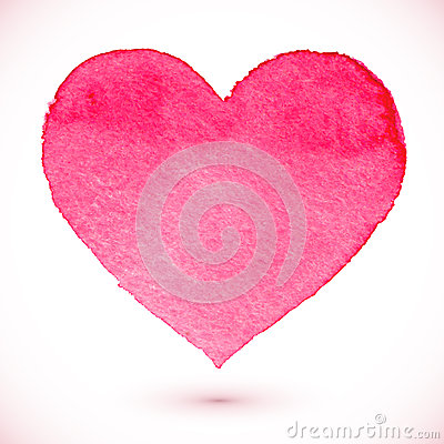 Free Watercolor Painted Pink Heart Stock Photo - 35417740