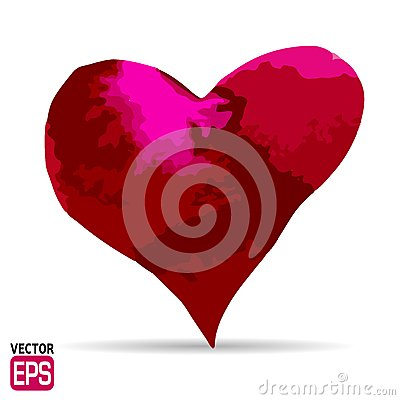 Free Watercolor Painted Red Heart, Vector Element. Royalty Free Stock Photo - 44254615