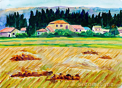 Watercolor Painting - Fields of Gold