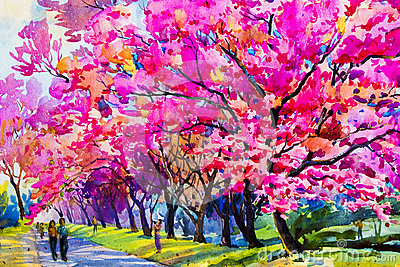 Watercolor painting original pink color flowers of Wild himalay Stock Photo