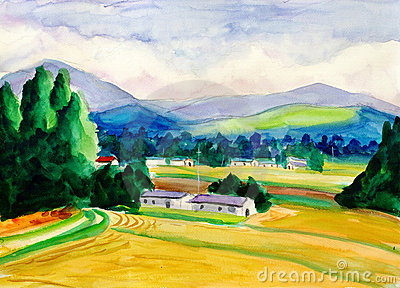 Watercolor Painting - Peaceful Village