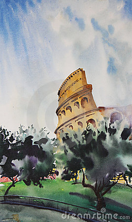 Watercolor painting of Rome
