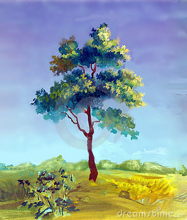 Watercolor painting of a tree