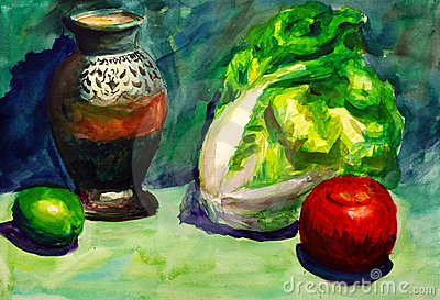 Watercolor Painting - Vegetable and Fruit