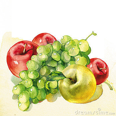 Watercolor painting on white background